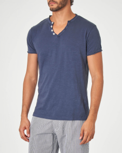 T-shirt serafino blu in tessuto slub
