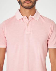 Polo rosa in cotone fiammato