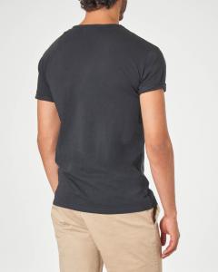 T-shirt serafino nera in tessuto slub