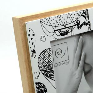 Cornice porta foto in legno con mongolfiera