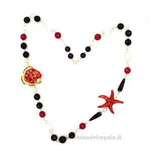 Collana onice e agata rossa con ceramica di Caltagirone - Gioielli Siciliani