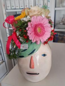 Vaso Ceramica grande viso capelli verdi