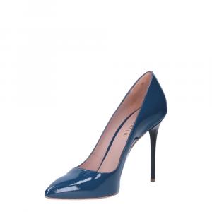 Il Laccio décolleté sfilato in vernice blu jeans tacco 100-2