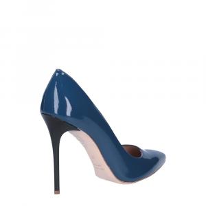 Il Laccio décolleté sfilato in vernice blu jeans tacco 100-3
