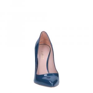 Il Laccio décolleté sfilato in vernice blu jeans tacco 100-4