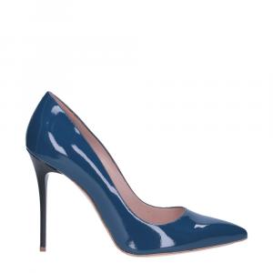 Il Laccio décolleté sfilato in vernice blu jeans tacco 100-5