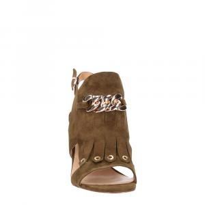 Gianni Renzi Couture sandalo in camoscio verde-1