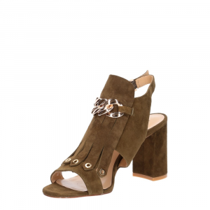 Gianni Renzi Couture sandalo in camoscio verde-5