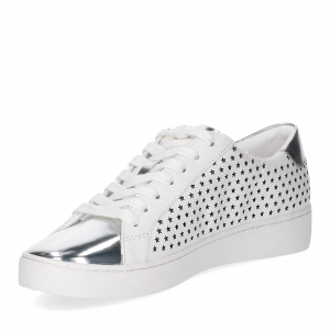 Michael KorsIrving Lace Up Lasered Leather White Silver-4