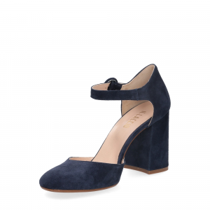 Il laccio sandaliera camoscio blu-4