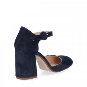 Il laccio sandaliera camoscio blu-5