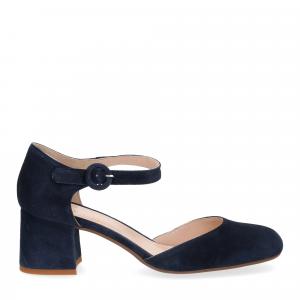 Sandaliera in camoscio blu con cinturino-3