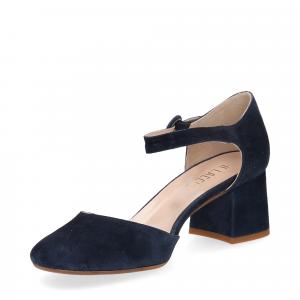 Sandaliera in camoscio blu con cinturino-4