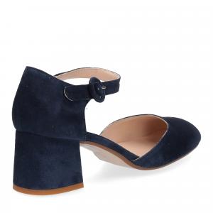 Sandaliera in camoscio blu con cinturino-5