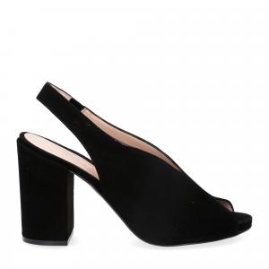 Il laccio sandalo camoscio nero-1