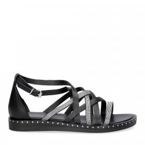 Janet & janet sandalo nero con listini argento-1