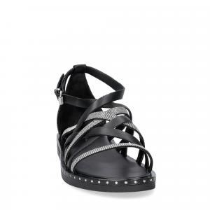 Janet & janet sandalo nero con listini argento-3