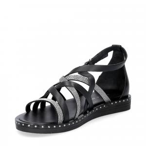 Janet & janet sandalo nero con listini argento-4