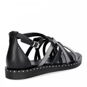 Janet & janet sandalo nero con listini argento-5
