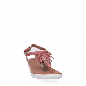 fitflop TIA TM FRINGE TOE-THONG SANDAL russet red gold foil-2