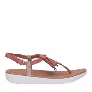 fitflop TIA TM FRINGE TOE-THONG SANDAL russet red gold foil-3