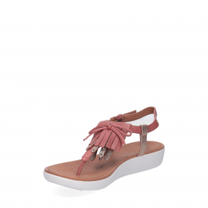 fitflop TIA TM FRINGE TOE-THONG SANDAL russet red gold foil-4