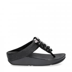 Fitflop boogaloo toe post black leather-1