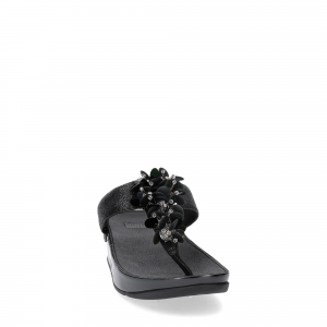 Fitflop boogaloo toe post black leather-2