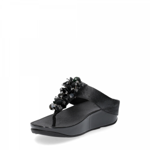 Fitflop boogaloo toe post black leather-3