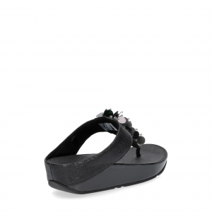 Fitflop boogaloo toe post black leather-5