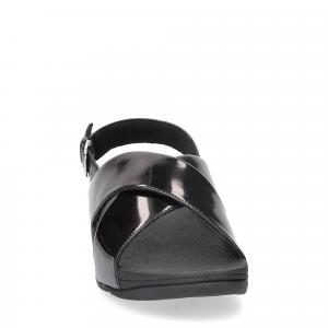 Fitflop lulu cross back strap sandals mirror black-1