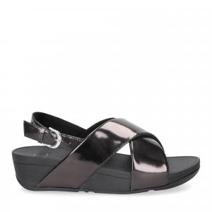 Fitflop lulu cross back strap sandals mirror black-2