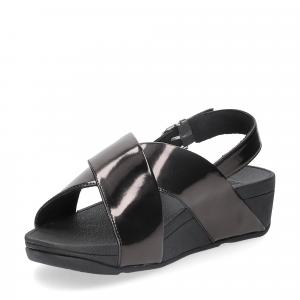 Fitflop lulu cross back strap sandals mirror black-4