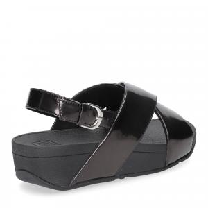 Fitflop lulu cross back strap sandals mirror black-5