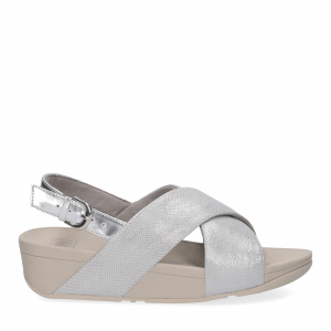 Fitflop LULU CROSS BACK STRAP SANDALS shimmer print silver-1
