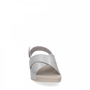 Fitflop LULU CROSS BACK STRAP SANDALS shimmer print silver-3