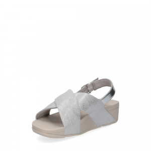 Fitflop LULU CROSS BACK STRAP SANDALS shimmer print silver-4