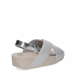 Fitflop LULU CROSS BACK STRAP SANDALS shimmer print silver-5