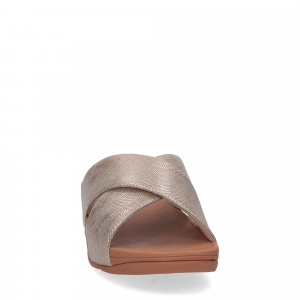 Fitflop LULU CROSS slide SANDALS shimmer print gold-5