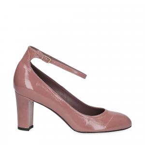 Il laccio décolleté con cinturino in vernice rosa antico-3