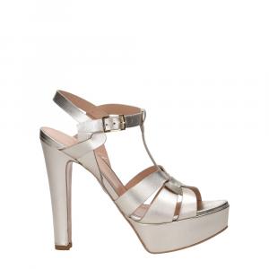 Vera Miller sandalo pelle laminata platino-2