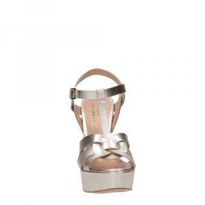 Vera Miller sandalo pelle laminata platino-3