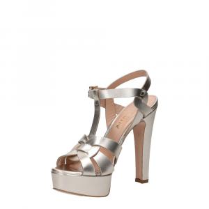 Vera Miller sandalo pelle laminata platino-5