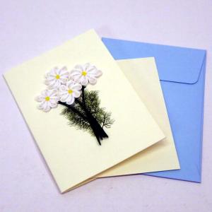 Mini biglietto margherite in filigrana di carta