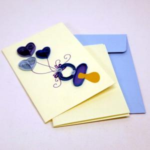 Mini biglietto 3 cuori blu e ciuccio in filigrana di carta