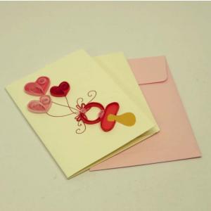 Mini biglietto auguri 3 cuori rosa in filigrana di carta