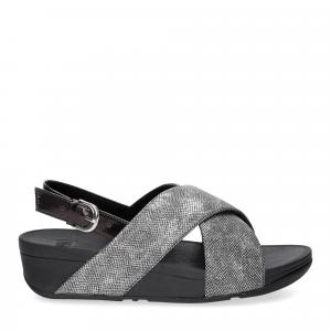 Fitflop Lulu Cross Back Strap Sandal shimmer print black-2