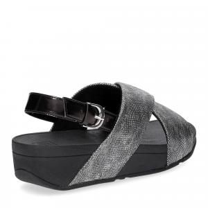 Fitflop Lulu Cross Back Strap Sandal shimmer print black-5