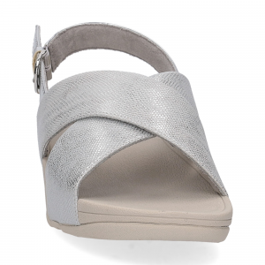 Fitflop Lulu Cross Back Strap Sandal shimmer print silver-1
