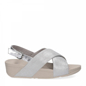 Fitflop Lulu Cross Back Strap Sandal shimmer print silver-2